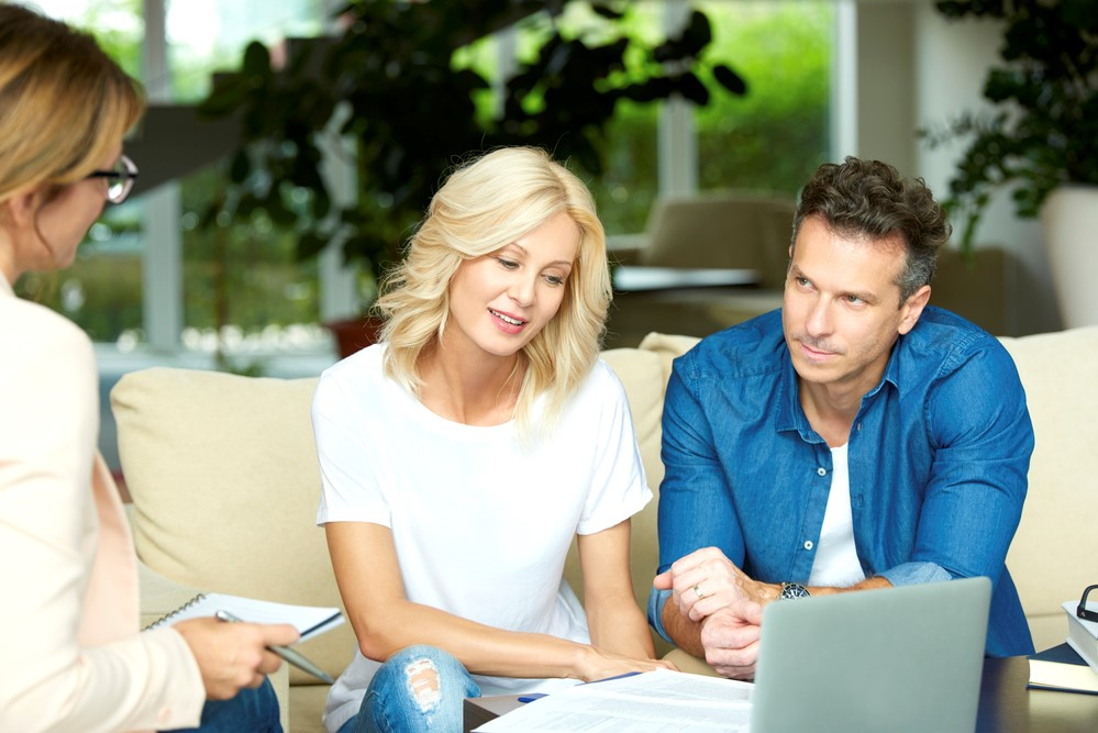 Couple successfully resolving issues in marriage with mediation